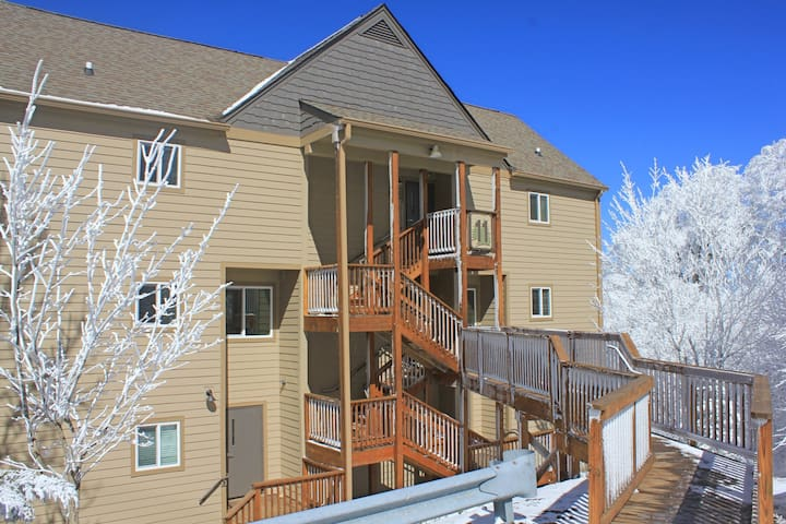 Efficient studio within walking distance to slopes, fireplace & great views!