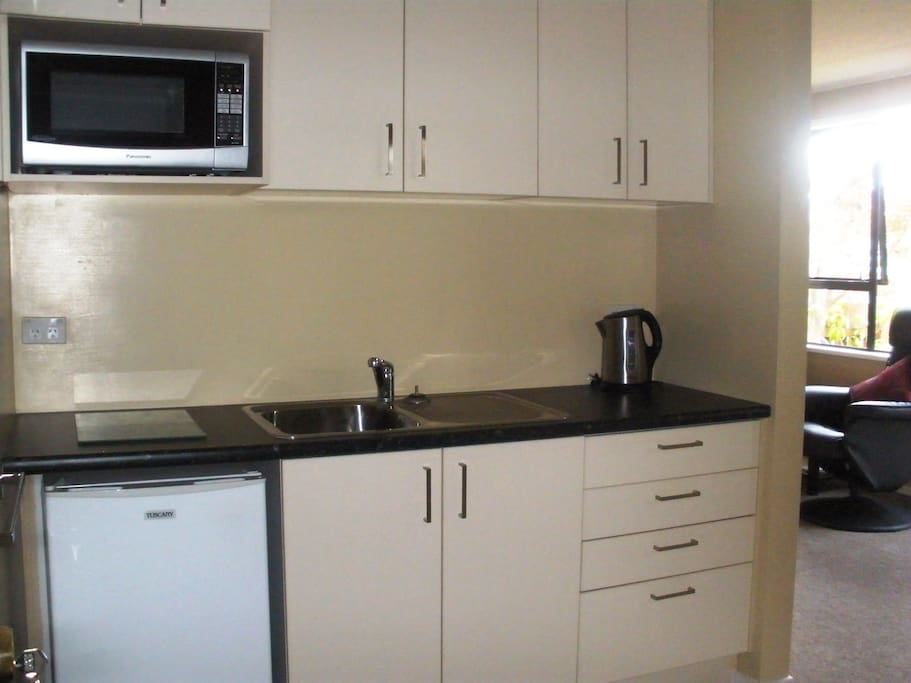 kitchenette with fridge and microwave.