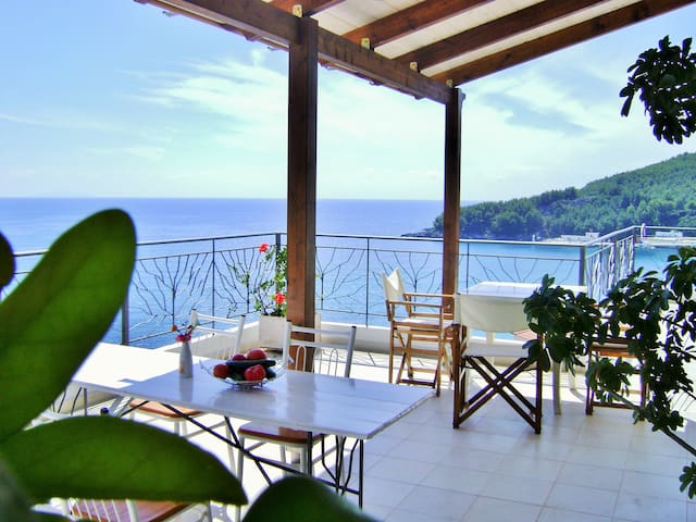 The view from the terrace. We are a short, one minute walk from the beach and two minutes from the city center.