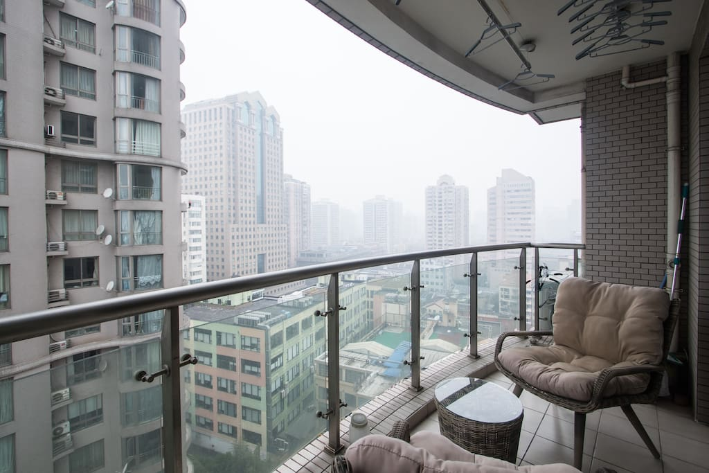Balcony - this was one of Shanghai's not so blue days - normally the balcony is my #1 spot
