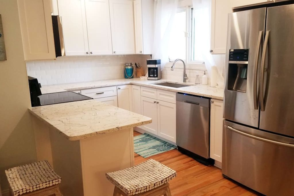 open kitchen with new appliances