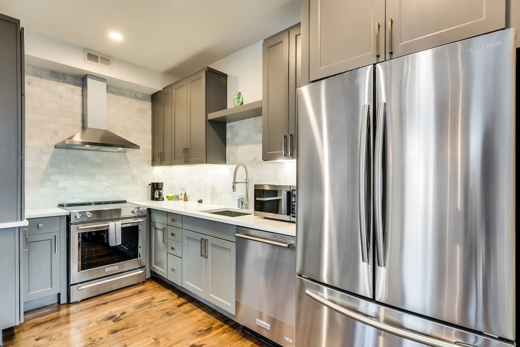 The kitchen is a new rehab, with stainless steel appliances