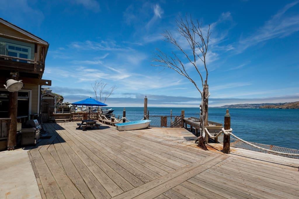Dockside views of the ocean.