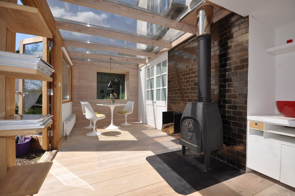 sunny space with wood burner