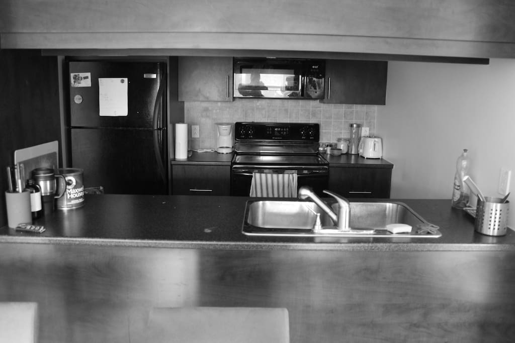 kitchen with free coffee