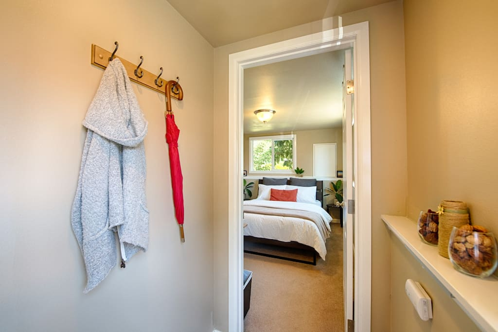 Coat Rack and Shoe Mat upon entry.