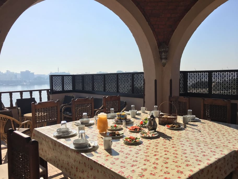Delicious Breakfast served on the roof terrace overlooking the Nile.