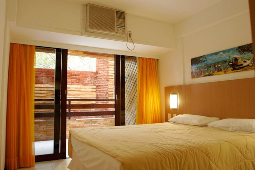 double bed in air conditioned room