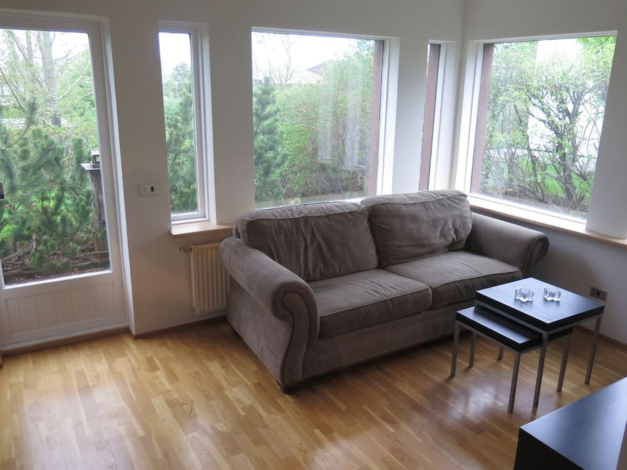 Cozy living room with a great sofa bed.