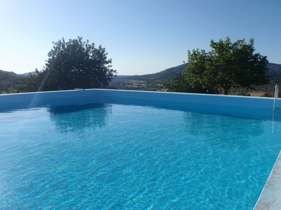 our pool with countryside view