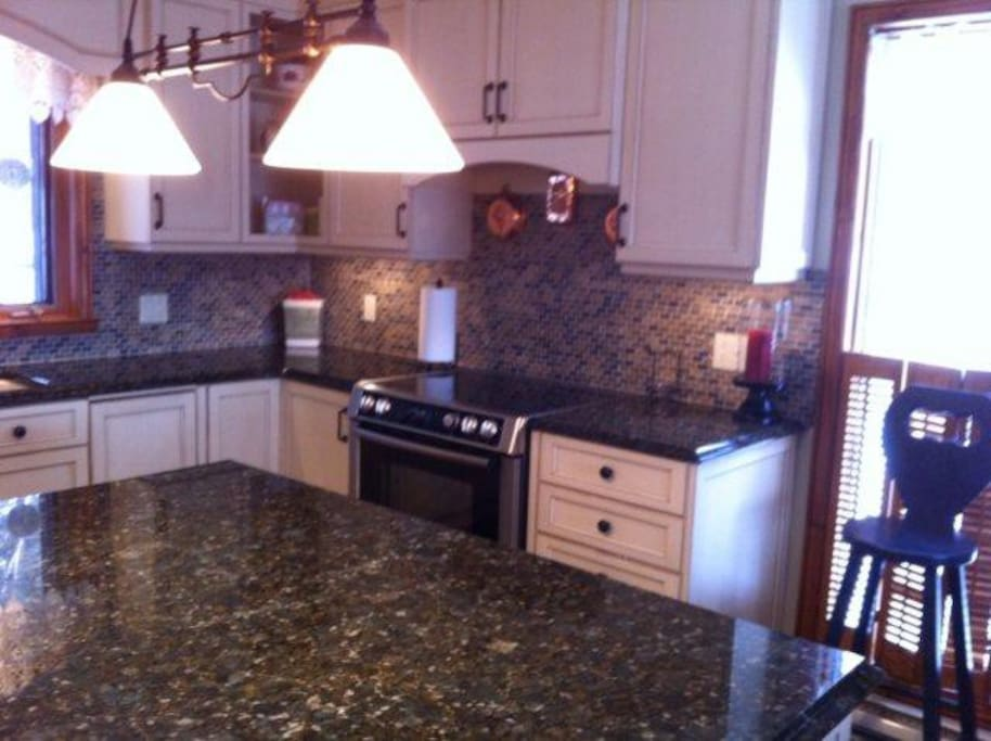 Kitchen with Granite Counter Tops & Island