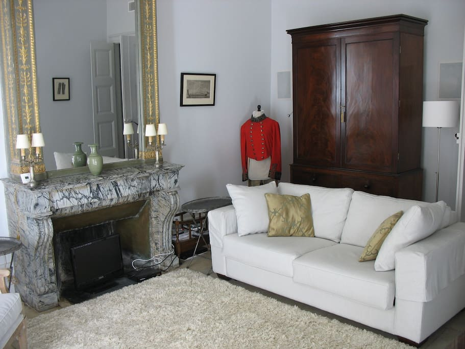 The separate sitting room has a very comfortable convertible double sofa bed