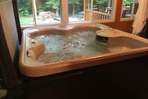 4 seater hot tub in screened in porch