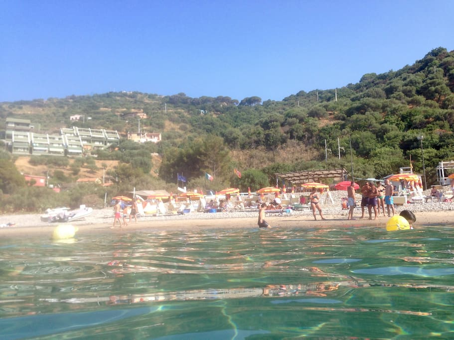The clean, warm waters of Sant'Ambrogio beach. Safe to swim.