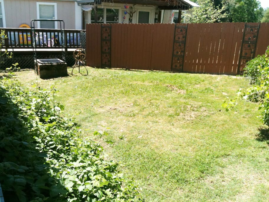 Front/side yard. Neighbors are nice. No complaints.