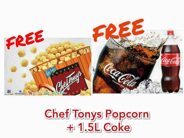 FREE Large Tub of Chef Tonys Popcorn + 1.5L Coke for at least 14nights stay