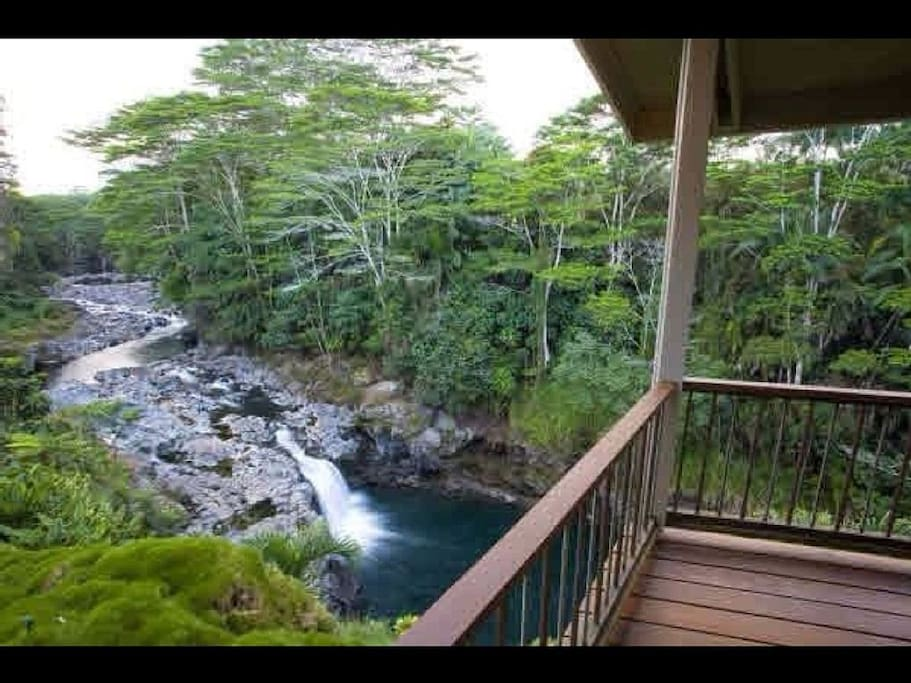 View from house deck and patio area of the Wailuku River and falls