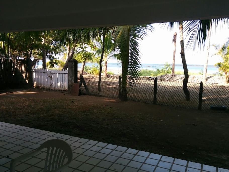 House Porch looking at the beach. You can walk to directly to the beach