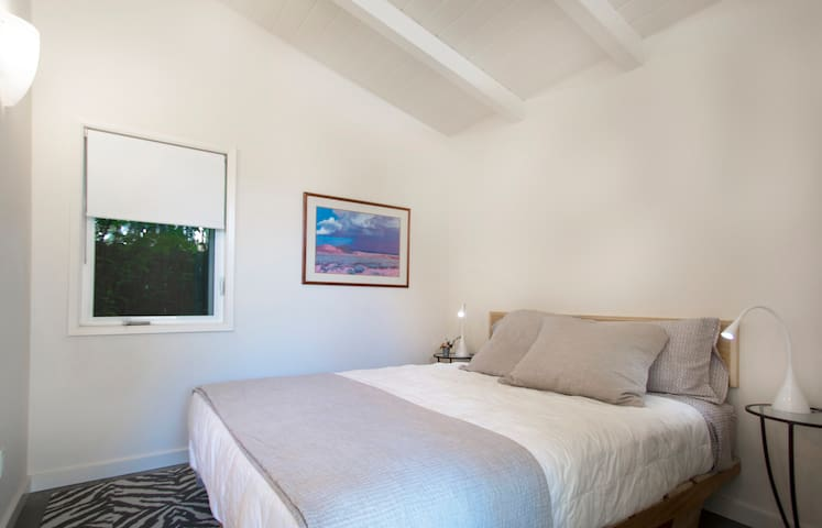 Queen bed with organic mattress