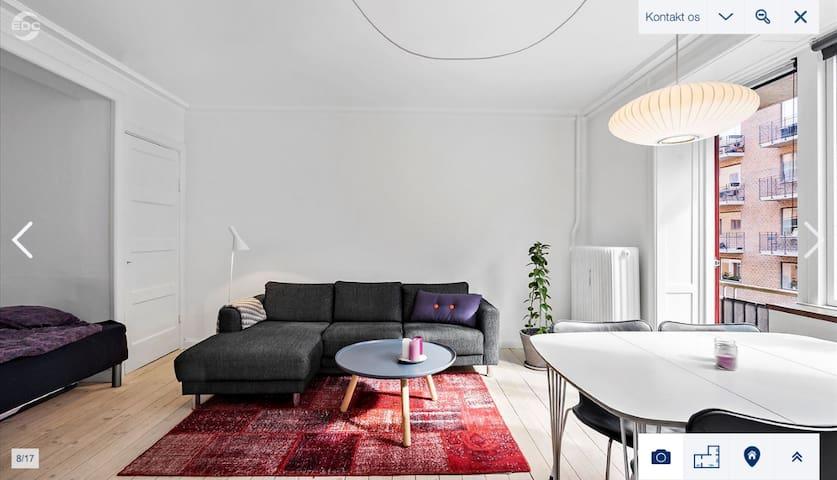 Stor 1-værelses lejlighed m. seperat køkken +altan