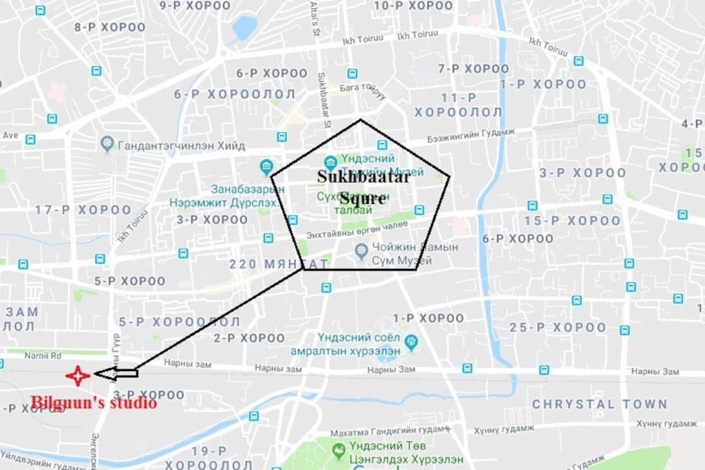 Location of the property in relation to downtown UB- Sukhbaatar square (point zero UB)