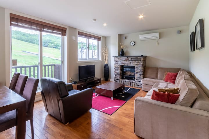 Large living room area with Fireplace and LCD TV, PS4.