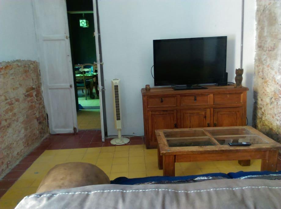 tv  con cable.  sofa