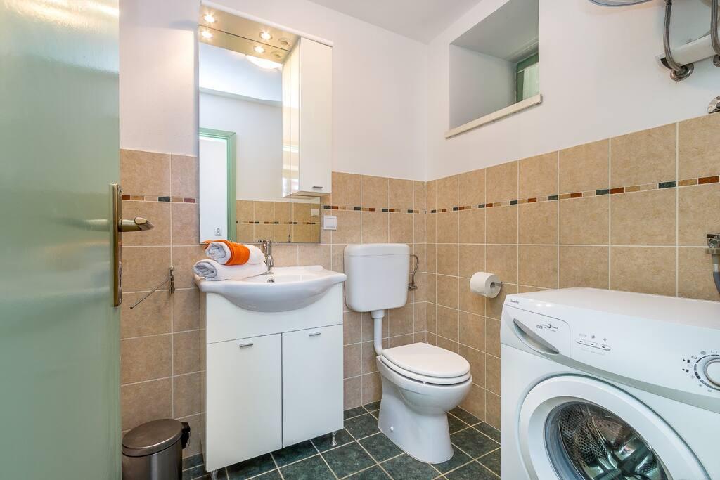 bathroom (washing machine, hair drier)