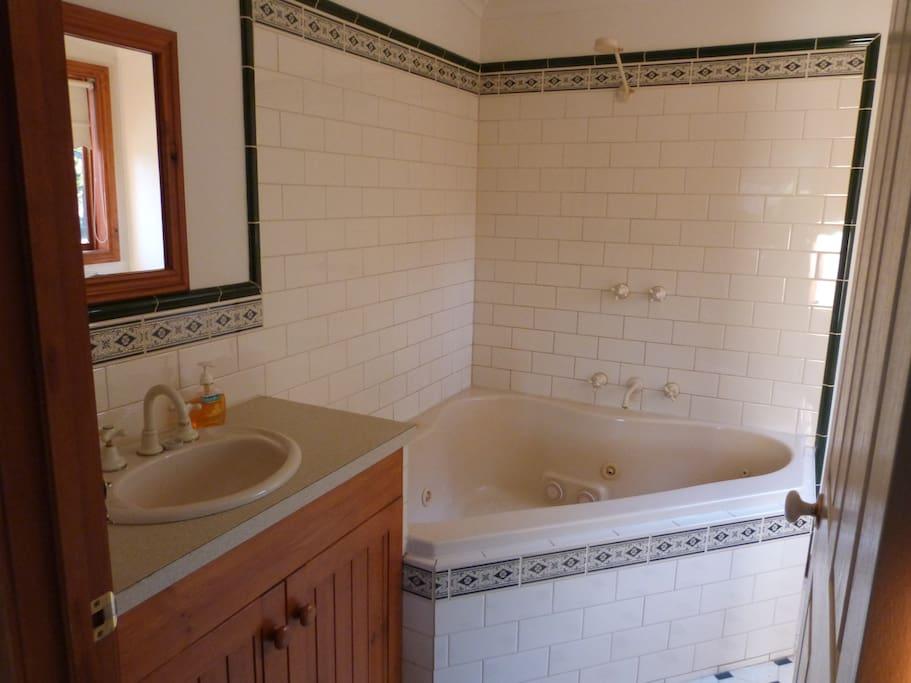 Bathroom with shower and spa bath