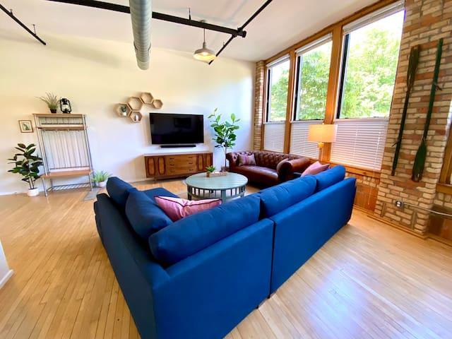 "living room with 65"" Samsung tv and sound bar, Restoration Hardware furniture"