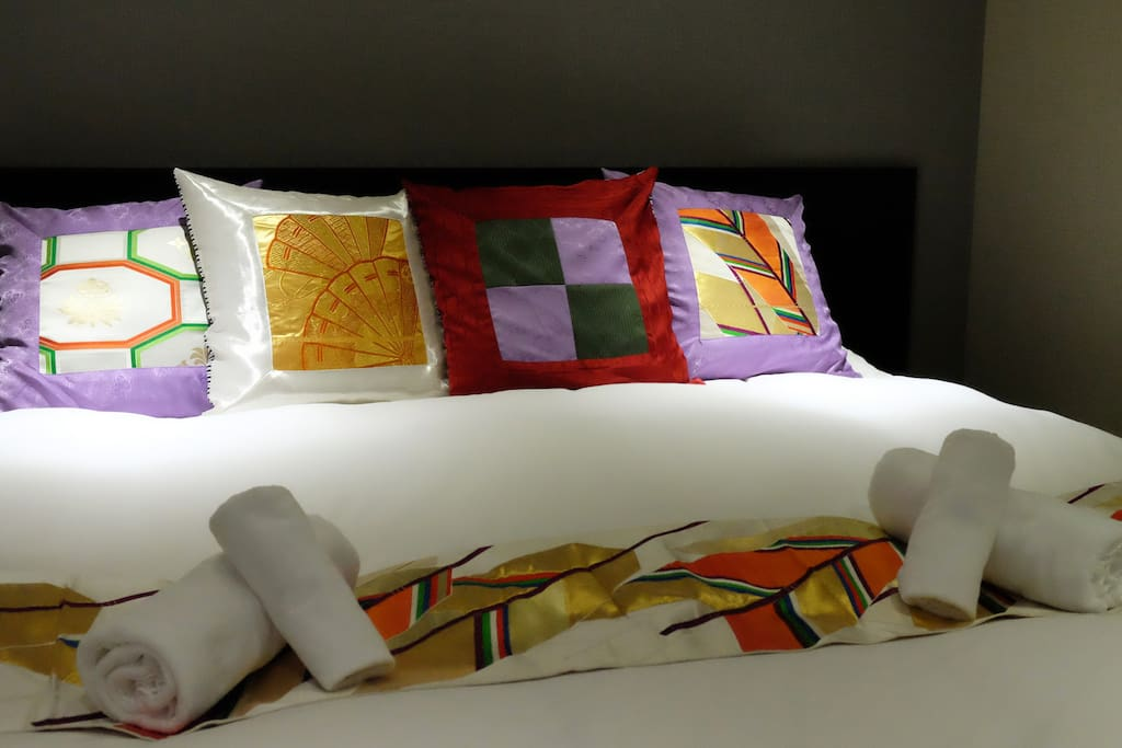 All of our bedding adornments are made from Japanese Kimono silk.