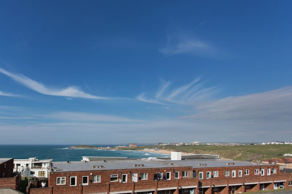 View over the famous Fistral beach