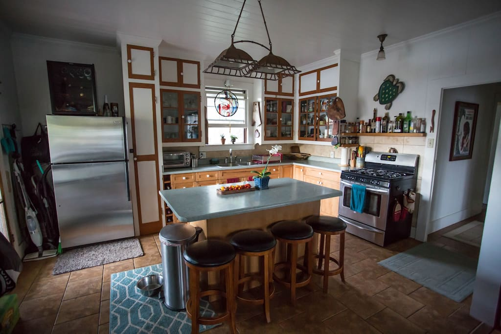 Kitchen with Gas stove, large fridge, and all the goodies for cooking your favorite meals.