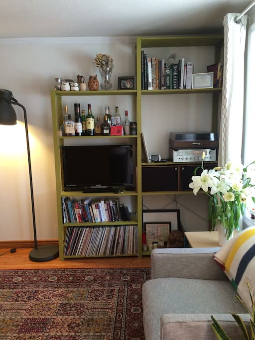 Our bright and cozy living room features a Netflix-enabled TV