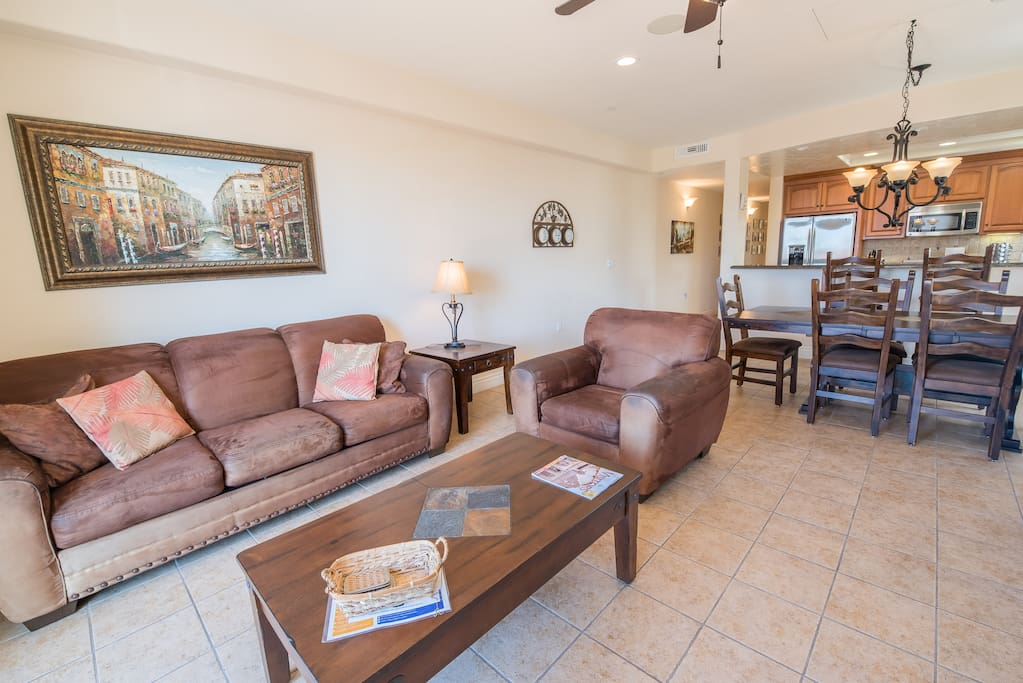 Perfect for group getaways, the open living area provides ample space. Complimentary Wi-Fi provided.
