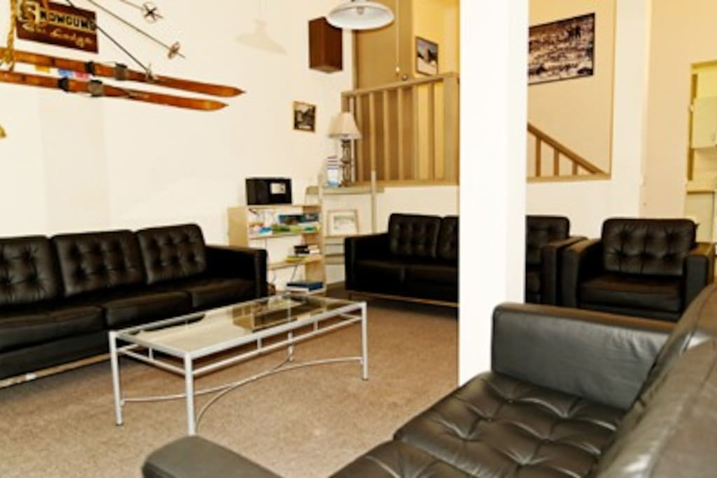 Comfortable lounge area with stereo and LCD TV
