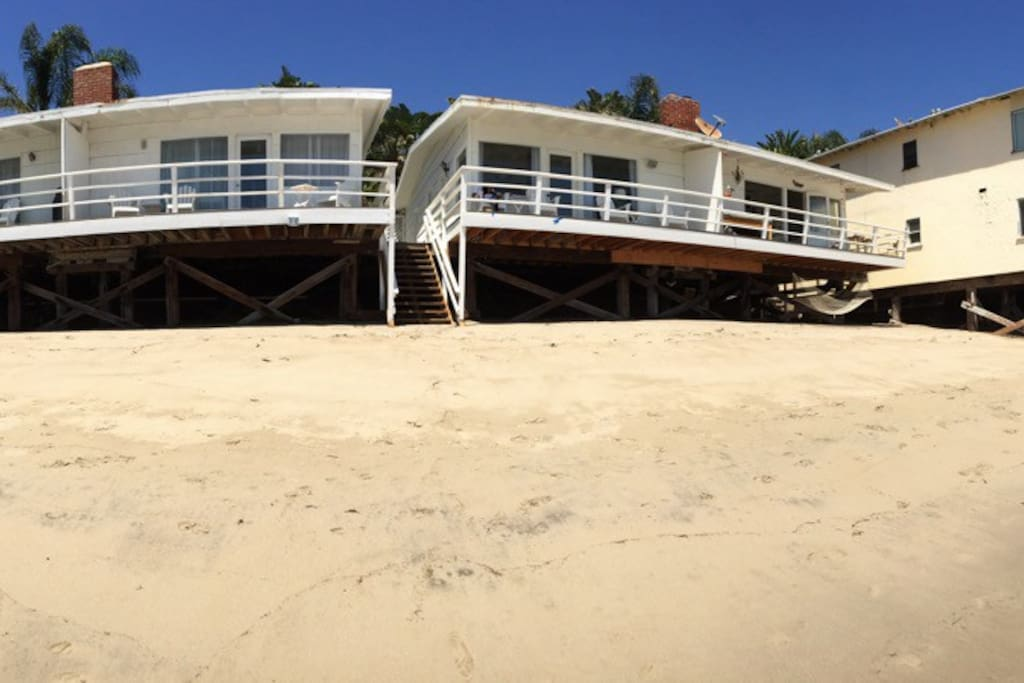 Oceanfront bungalow situated right on the sand.