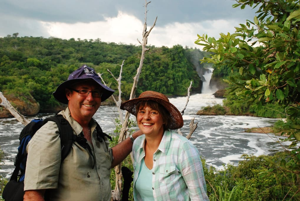 Alison and Dave treking through the gorge below the awesome Murchison falls