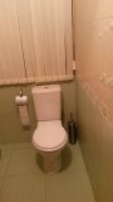 Большой сан.узел , есть угловая раковина, гигиенический душ, есть бойлер ( всегда горячая вода)