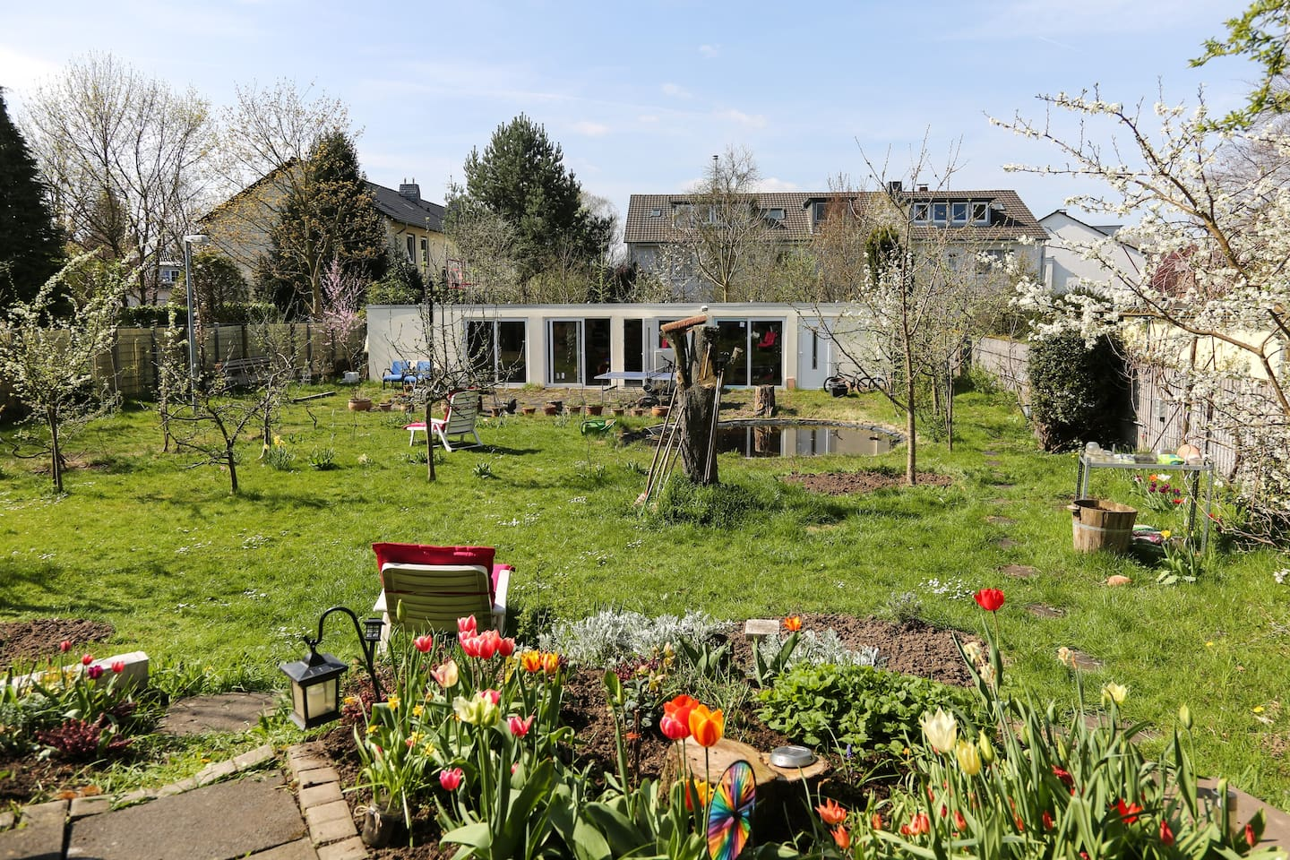 Beautiful garden with fruit trees and pond