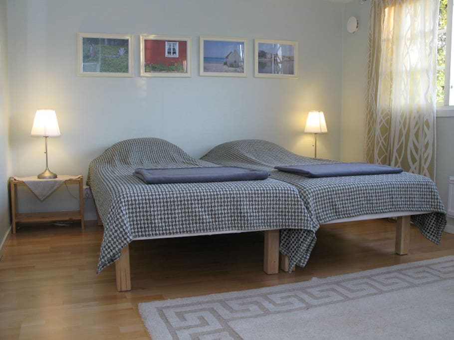 Double bed in main bedroom, upstairs.