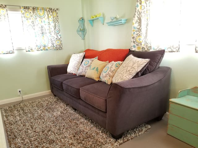 Pull out sofa with memory foam mattress.