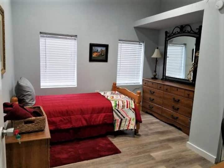 Safe, private bedroom with own refrigerator