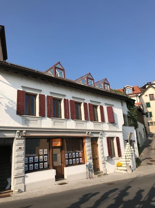 Vue de la façade extérieure du loft