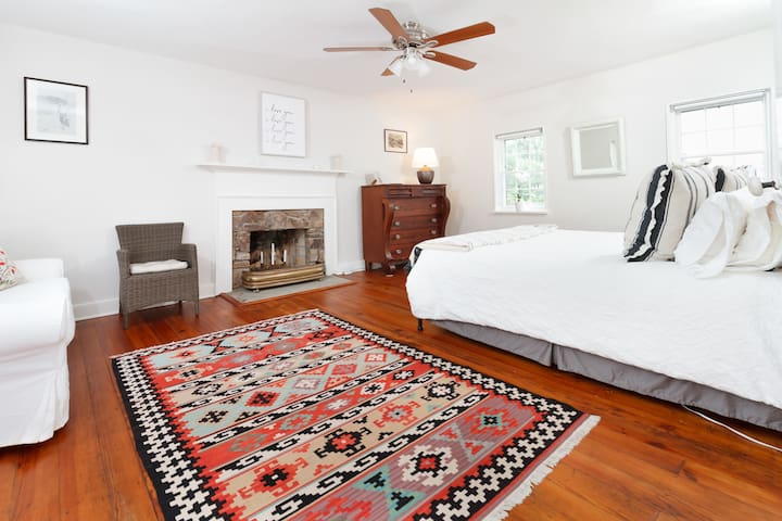 Large master bedroom on second floor with great views of the town and mountain