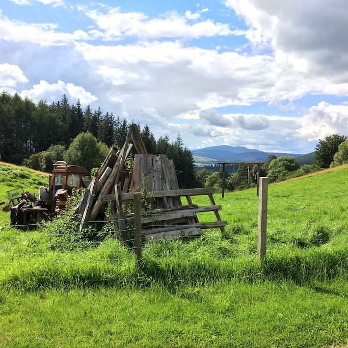Old fergie tractor and views of Glen Fender.