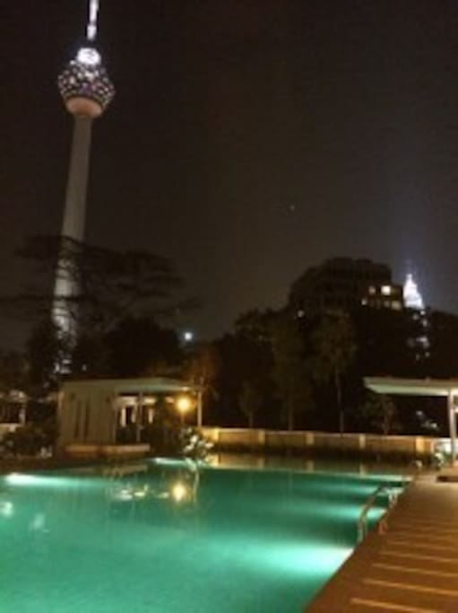 View of the KL Tower at night from the Swimming Pool
