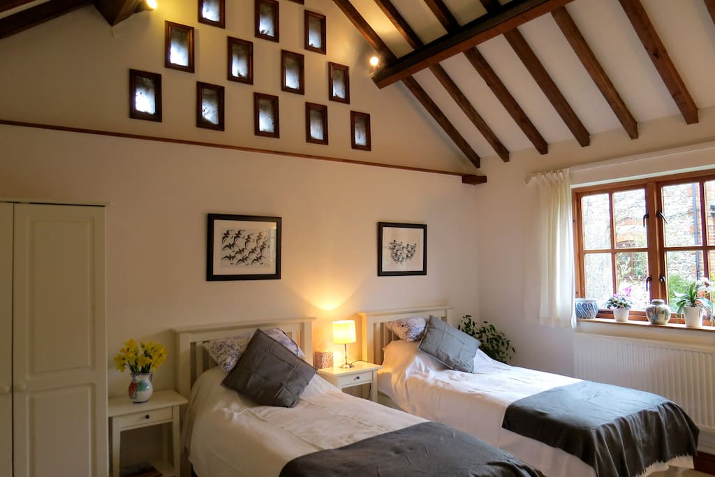 Bedroom 2 is called Dovecote Room - with two single beds