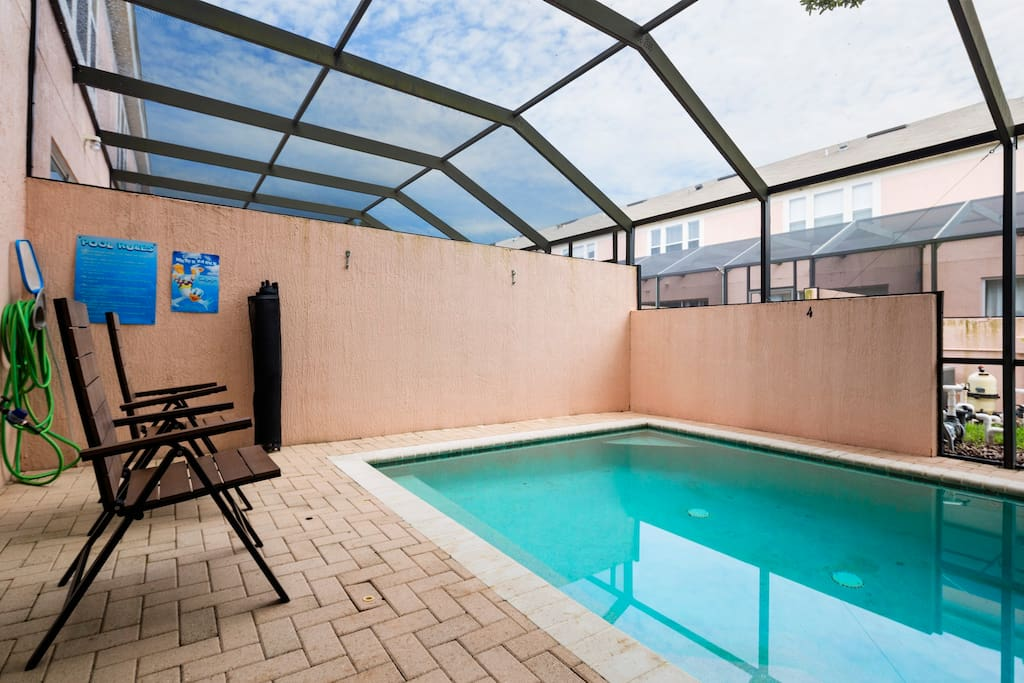This sparkling clear, private pool and spacious deck area is all yours during your vacation stay. Have a seat in one of the deck chairs and soak up some sun, or splash around with the kids!