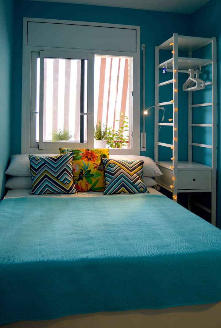 Tranquil Turquoise Single Room with Double Bed
